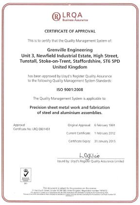 Quality Control standards ISO 9001:2008